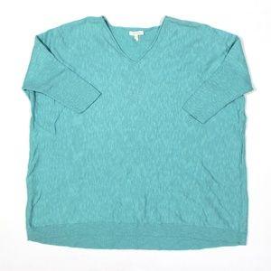 Eileen Fisher V Neck Linen Blend Tunic Sweater 3/4